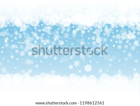 iridescent graphic snow border with white snowflakes on horizontal winter background merry christmas and happy new year