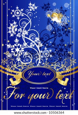 Snow branch Christmas and New Year background Banner for your text, decorated with patterns of branches and Snowflakes on a blue background with postcard with an angel