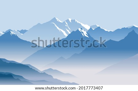 Snow-capped mountain peaks. Great mountain range. Vector image for prints, poster and illustrations. Photo stock ©