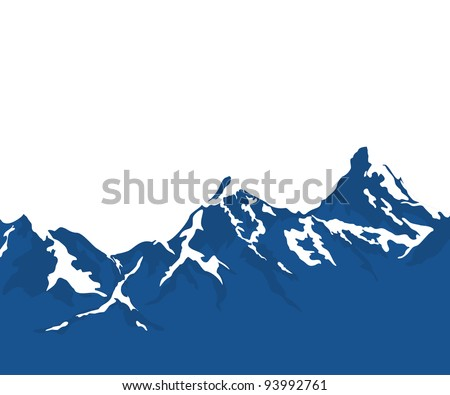 snow capped mountains isolated on white background