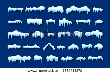 Snow caps, falling snow and snow drift elements. Snow, ice cap with shadow set. Winter design elements for banners, leaflets, postcards. Vector illustration. stock photo
