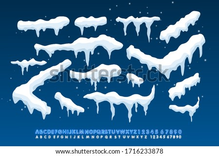 Snow caps, falling snow and snow drift elements. Winter design elements for banners, leaflets, postcards . Vector illustration with neon alphabet style.