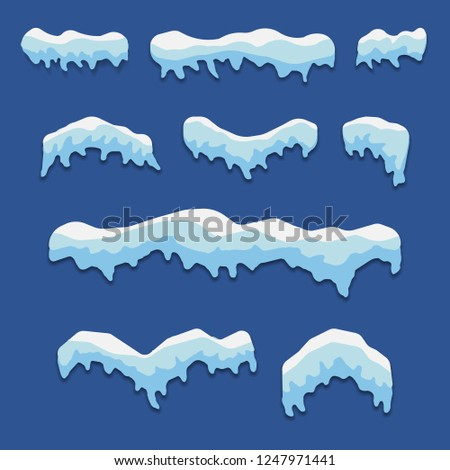 Snow caps isolated on blue background. Vector illustration. Eps 10.