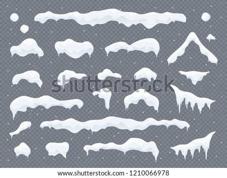 Snow caps, snowballs and snowdrifts set. Snow cap vector collection. Winter decoration element. Snowy elements on winter background. Cartoon template. Snowfall and snowflakes in motion. Illustration.