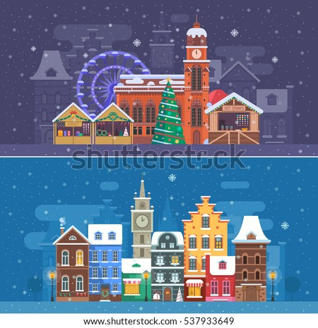 snow city landscapes with