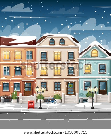 snow covered street with