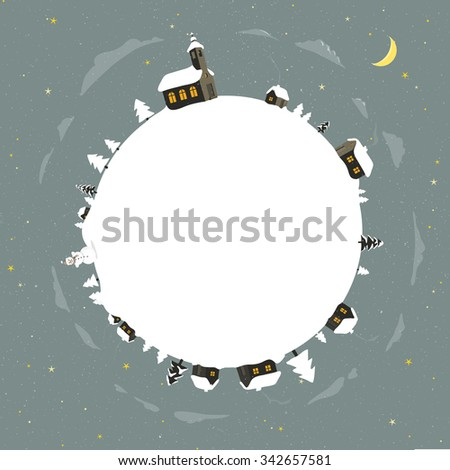 snow covered village with