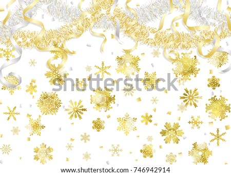 Snow crystal and gold and silver decoration #746942914