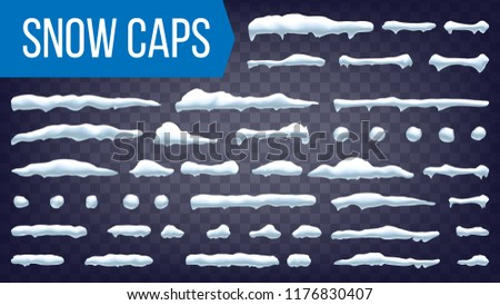 Snow Drift Vector. Snowballs, Snowdrift. New Year Winter Ice Element. Realistic Snow Caps. Isolated Illustration