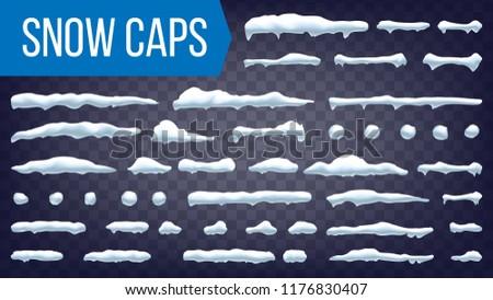 Snow Drift Vector. Snowballs, Snowdrift. New Year Winter Ice Frame Drift Element. Realistic Snow Caps. Isolated Illustration