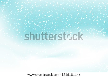 Snow fall background. Vector illustration with snow covered hills. Winter snowing sky. Eps 10.