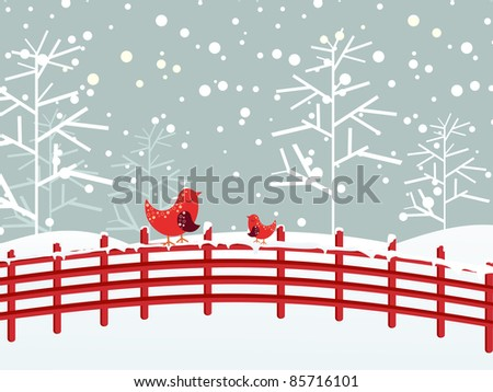snow fall  dry tree background