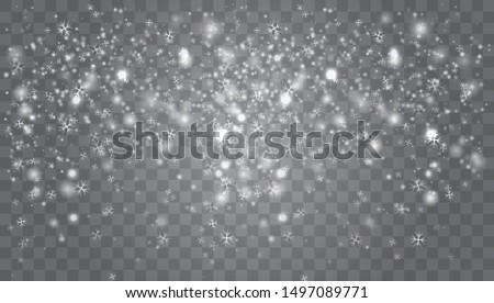 Snow falling winter snowflakes christmas new year design. Abstract snowflake background for your winter design.  White glitter snowflakes