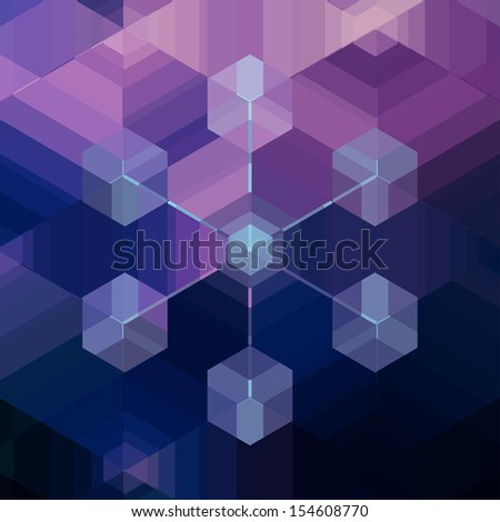 Snow flake shape computer cloud network nodes background. Complex geometric inter connected server cluster. Modern technology pattern design. Stockfoto ©