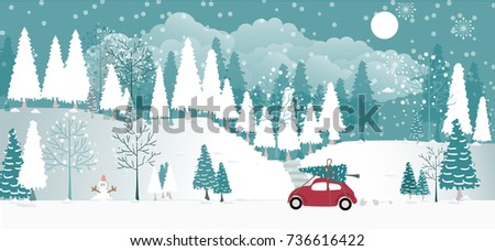 snow forest vector background