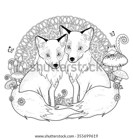 snow fox coloring page in