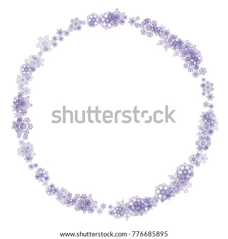 snow frame with ultraviolet snowflakes new year backdrop winter border for flyer gift
