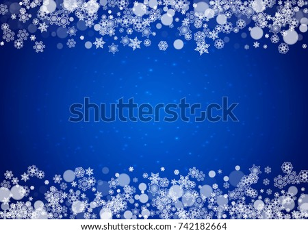 snow frame with white snowflakes for christmas and new year celebration on blue background with sparkles - Winter Frames