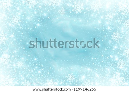 Snow frost effect on blue background. Vector Illustration. Abstract bright white shimmer lights and snowflakes. Glowing blizzard. Scatter falling round particles.