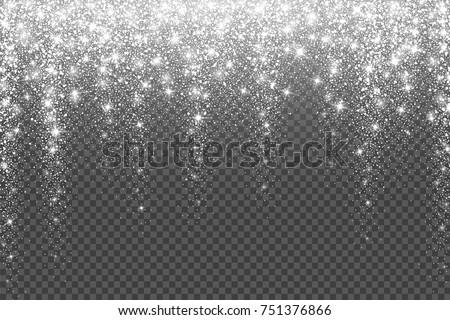 Snow frost effect on transparent background. Vector Illustration. Abstract bright white shimmer lights and snowflakes. Glowing blizzard. Scatter falling round particles.