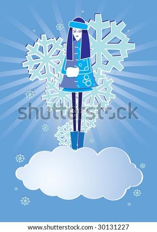 snow girl - stock vector