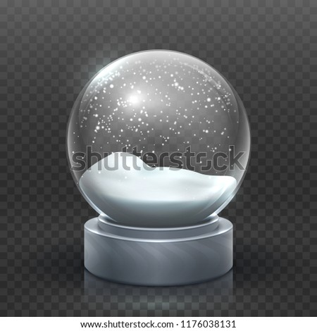 Snow globe. Christmas holiday snowglobe, empty glass xmas snowball. Snowy magic ball vector template. Sphere christmas ball, transparent toy bubble illustration