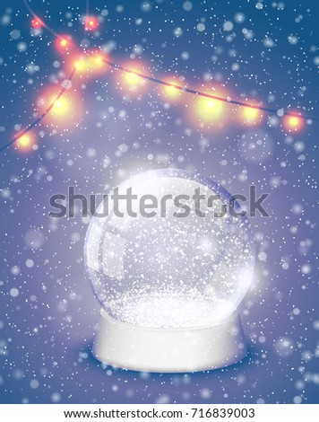 Snow globe Christmas magic ball with yellow lights background. Xmas snowglobe greeting card vector illustration. Winter in glass ball, crystal dome snowflake retro violet backdrop.