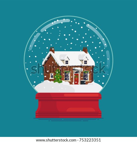 Snow globe gift or souvenir collectors item. Vector element on traditional Christmas holiday item waterglobe present with cute Georgian cottage covered in snow and decorated for Xmas