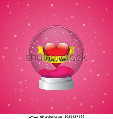 Snow globe heart winter valentine snowglobe love vector red pink