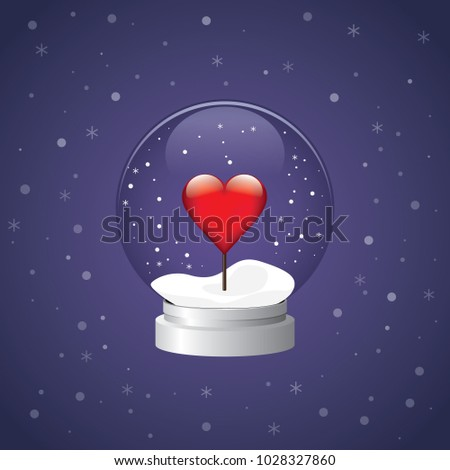 Snow globe heart winter valentine snowglobe love vector red purple