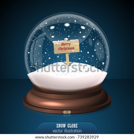 snow globe on blue background