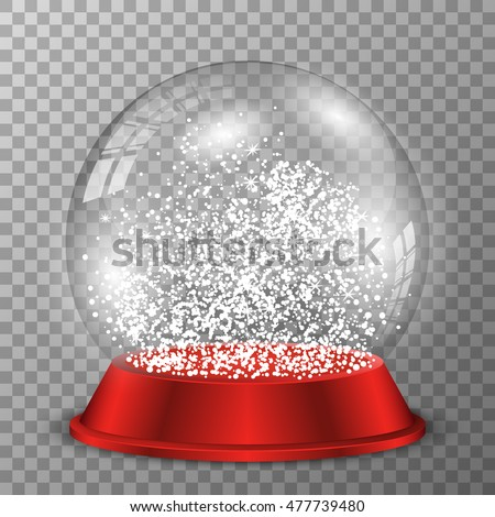 snow globe on red stand vector