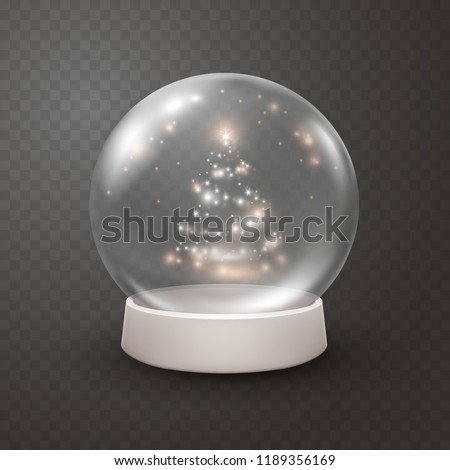 Snow globe or Christmas ball isolated on transparent background. Vector glass snowball with christmas tree lights, flares, snow flakes and glowing stars. Magic 3d crystal xmas snowglobe template.