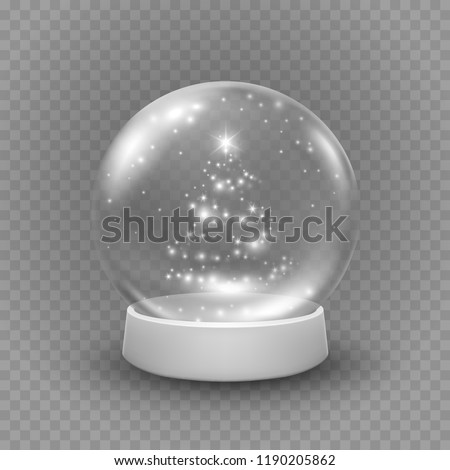 Snow globe or Christmas ball isolated on transparent background. Vector glass snowball with christmas tree lights, white snow flakes and glowing stars. Magic 3d crystal xmas snowglobe template.