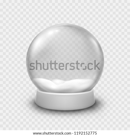 Snow globe or Christmas ball isolated on transparent background. Vector glass snowball with christmas white snow. Magic 3d crystal xmas snowglobe template.