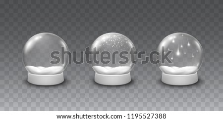 Snow globe or Christmas ball set isolated on transparent background. Vector glass snowballs with christmas white snow and falling snowflakes. Magic 3d crystal xmas snowglobe template.