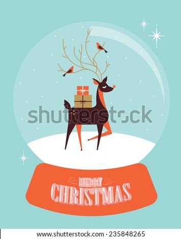 snow globe reindeer vector