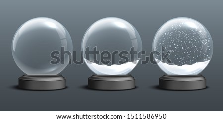 Snow globe templates. Empty glass snow globe and snow globes with snow on dark background. Vector Christmas and New Year design elements
