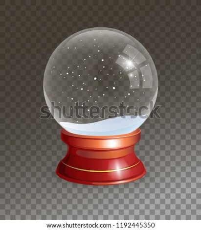 Snow Globe vector illustration. Empty snowglobe. Crystal 3d Sphere. Transparent glass ball. New Year gift