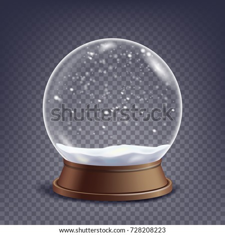Snow Globe Vector. Xmas Empty Snow Globe Ball. Winter Christmas Design Element. Glass Sphere Dome On A Stand. Isolated On Transparent Background Illustration