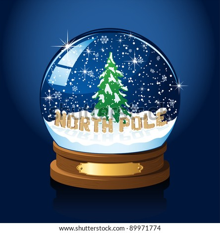Snow globe with North Pole, Christmas tree and the falling snow, illustration