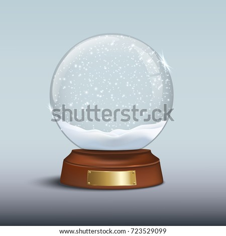 snow globe with shiny snow and