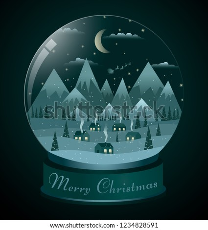 snow globe with snow in which the new year landscape with houses near the mountains is