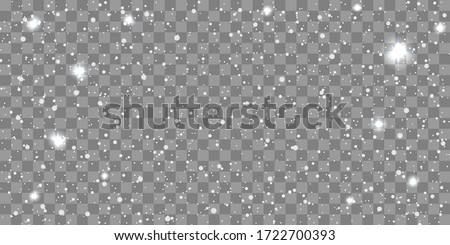 Snow gray transparent background. Christmas snowy winter design. White falling snowflakes, abstract landscape. Cold weather effect. Magic nature fantasy snowfall decoration. Vector illustration