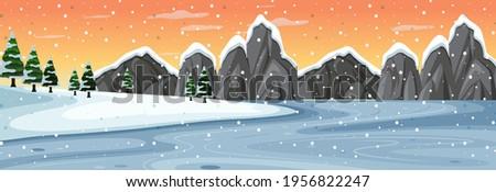 snow horizontal scene with
