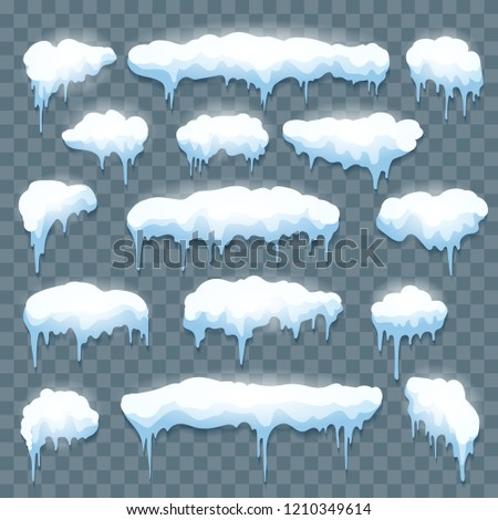 Snow icicles on transparent. Cool roof white ice borders, winter frozen vector icicle set