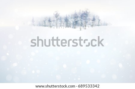 snow landscape with forest on