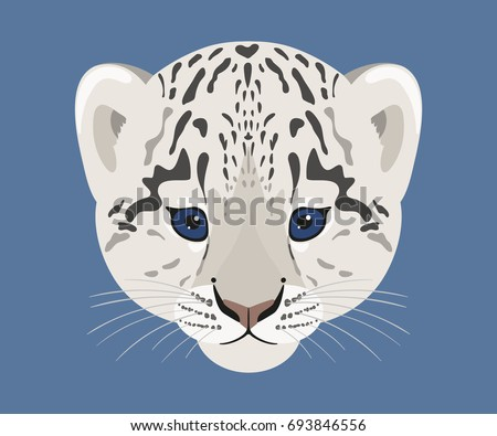 snow leopard cub face of cute