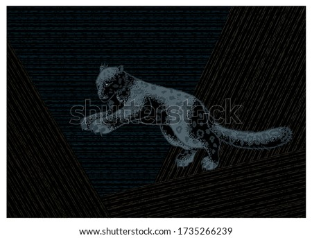 snow leopard in the jump