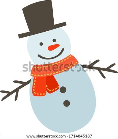 snow man vector, winter, white snow, hat, face, scarf. Сток-фото ©